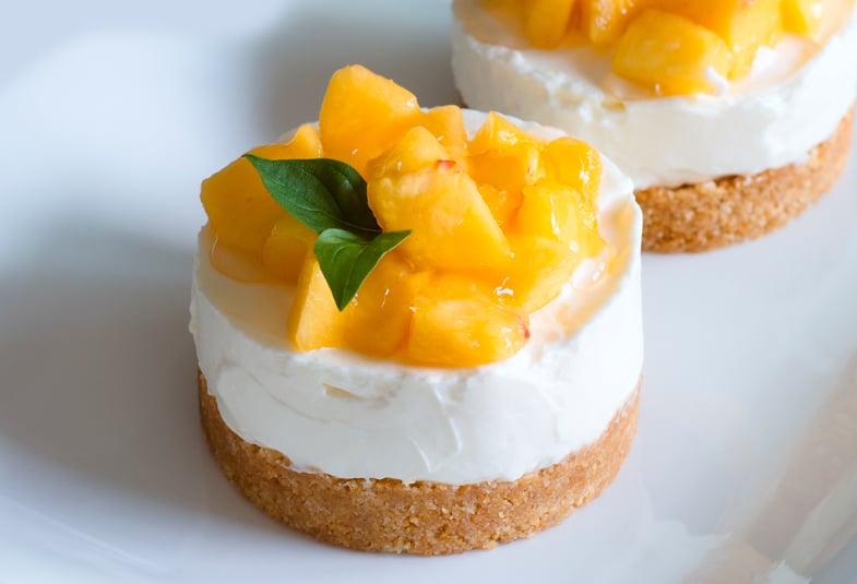 Cheesecake de melocoton, receta con durazno
