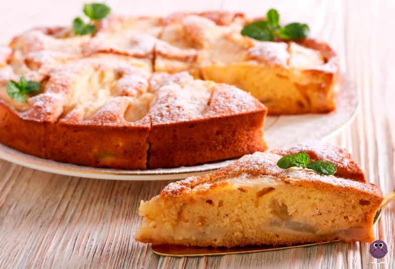 Tarta de manzana con pera, una merienda saludable